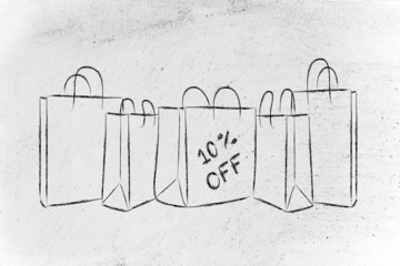 shopping bags with sales percentage off