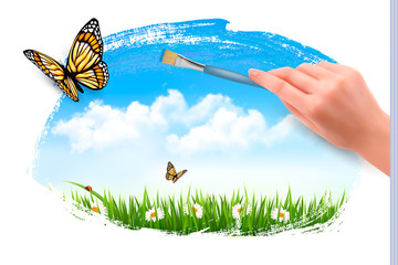 Nature background with butterflies and hand with brush. Vector.