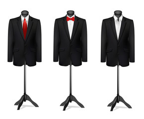 Three different suits on mannequins. Vector.