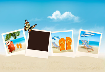 Vacation photos on a beach. Vector.