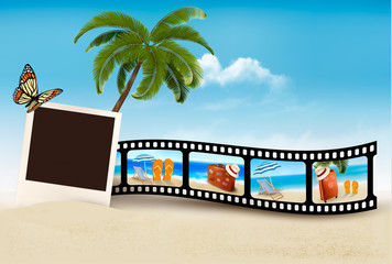 Vacation film tape on a beach. Vector.