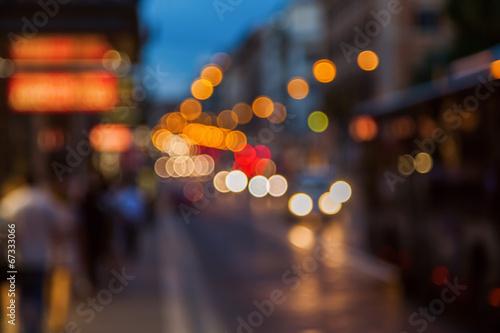Fotobehang Licht, schaduw defokussierter Nachtverkehr