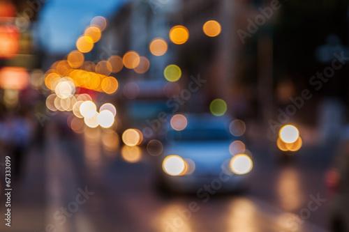 Foto op Plexiglas Licht, schaduw Bokeh Lichter vom nächtlichen Stadtverkehr