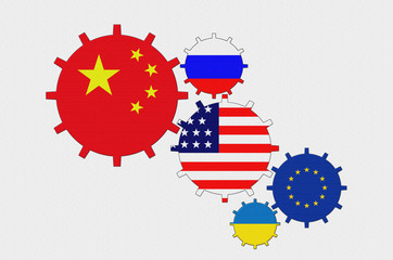 Flags of the world - China, USA, European Union, Uktaine, Russia