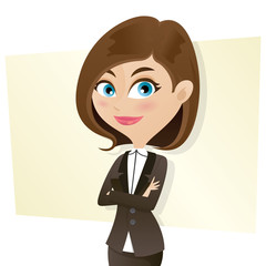 cartoon smart girl in business uniform with folded arms