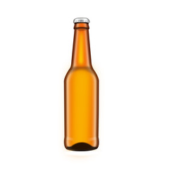 Glass beer brown bottle , isolated on white background
