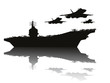 Aircraft carrier and flying aircrafts vector silhouettes.EPS10 - 67334248