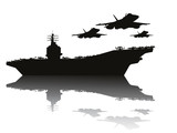 Aircraft carrier and flying aircrafts vector silhouettes.EPS10