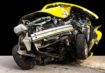 Isolate the front of the yellow car crash caused by accident