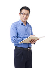 asian man with pen and notebook, isolated on white
