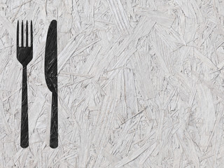 Fork and knife silhouette in white OSB background
