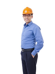 asian man with orange safety hat, isolated on white