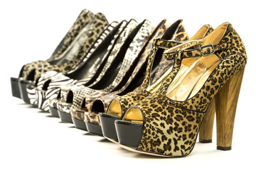 group of fashionable high heels in animal print design