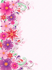 Background with red and pink flowers