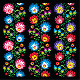 Fotoroleta Seamless long Polish folk art pattern - wzory lowickie