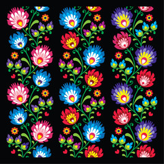 Seamless long Polish folk art pattern - wzory lowickie
