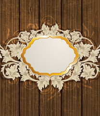 Wooden background and golden label