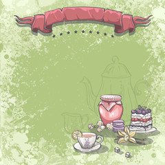 Background image with a cup of tea, jam cake and vanilla flower.