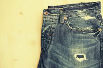 closeup of blue jeans, vintage look