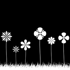 Flower Vector Black and White.