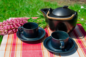close up black clay tea set and lupine aoutdoor