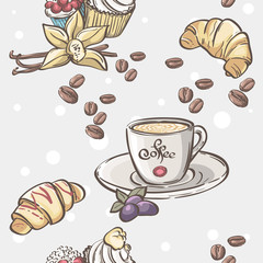 cup of coffee, croissants and fruit