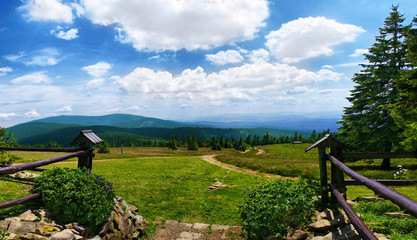 View from Beskidy mountains Poland, Rysianka