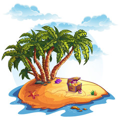 Illustration of treasure island and palms