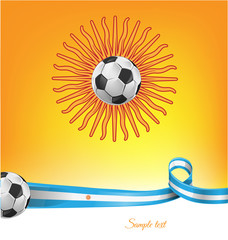 argentina flag  with soccer ball on background