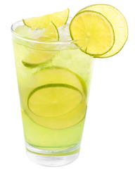 Lemonade with lime and ice cubes.