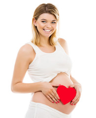 Pregnant woman with red heart