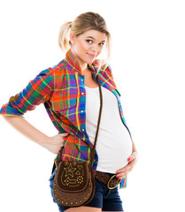 Pregnant woman on white