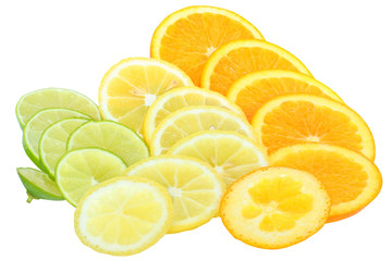 Fresh orange,lime and lemon cut