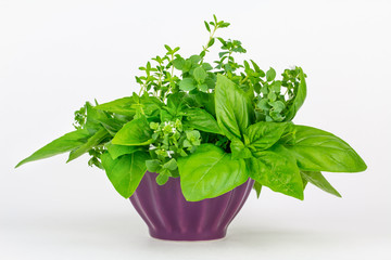 Fresh herbs in a bowl: thyme, oregano and basil