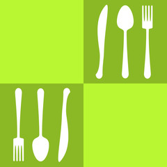 Spoons and forks colored squares olive background
