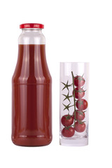 Bottle of tomato juice and cherry tomatoes in glass isolated