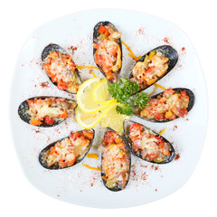 Mussels in sea salt Top view