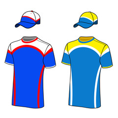 T-shirt sport designs and baseball cap.