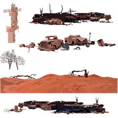 painted dump broken cars, desert, set