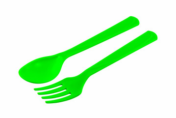 green fork spoon