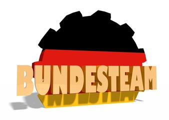 bundesteam text and gear panted by germany flag