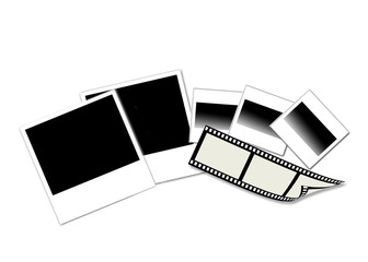 Polaroid prints, photo film & slides isolated on white