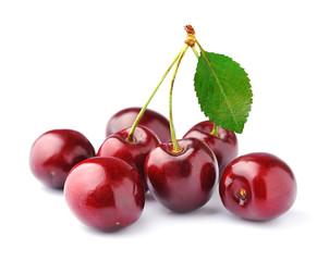 Black cherries on white