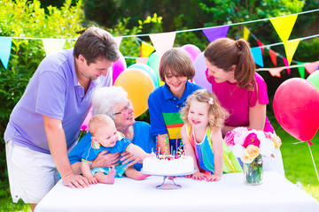 Happy family at a birthday party in garden
