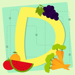 """Letter """"d"""" from stylized alphabet with fruits and vegetables"""
