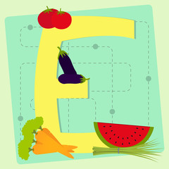 "Letter ""e"" from stylized alphabet with fruits and vegetables"