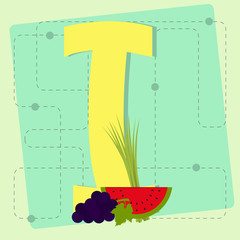 "Letter ""i"" from stylized alphabet with fruits and vegetables"
