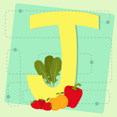 "Letter ""j"" from stylized alphabet with fruits and vegetables"