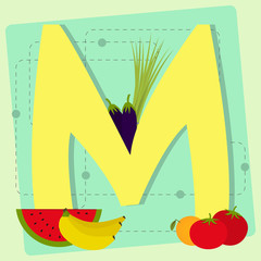 "Letter ""m"" from stylized alphabet with fruits and vegetables"