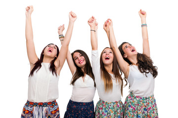 Happy Teen Girls raising arms